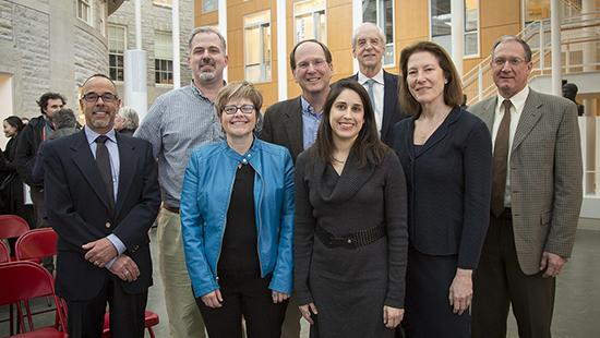 From left, James Blankenship, Walker White, Sara Warner, Steven Strogatz, Jane Mendle, Interim President Hunter Rawlings, Andrea Simitch and Michael Van Amburgh Feb. 9 in the Groos Family Atrium in Klarman Hall.