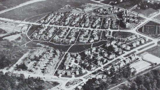 black and white aerial view of a planned city
