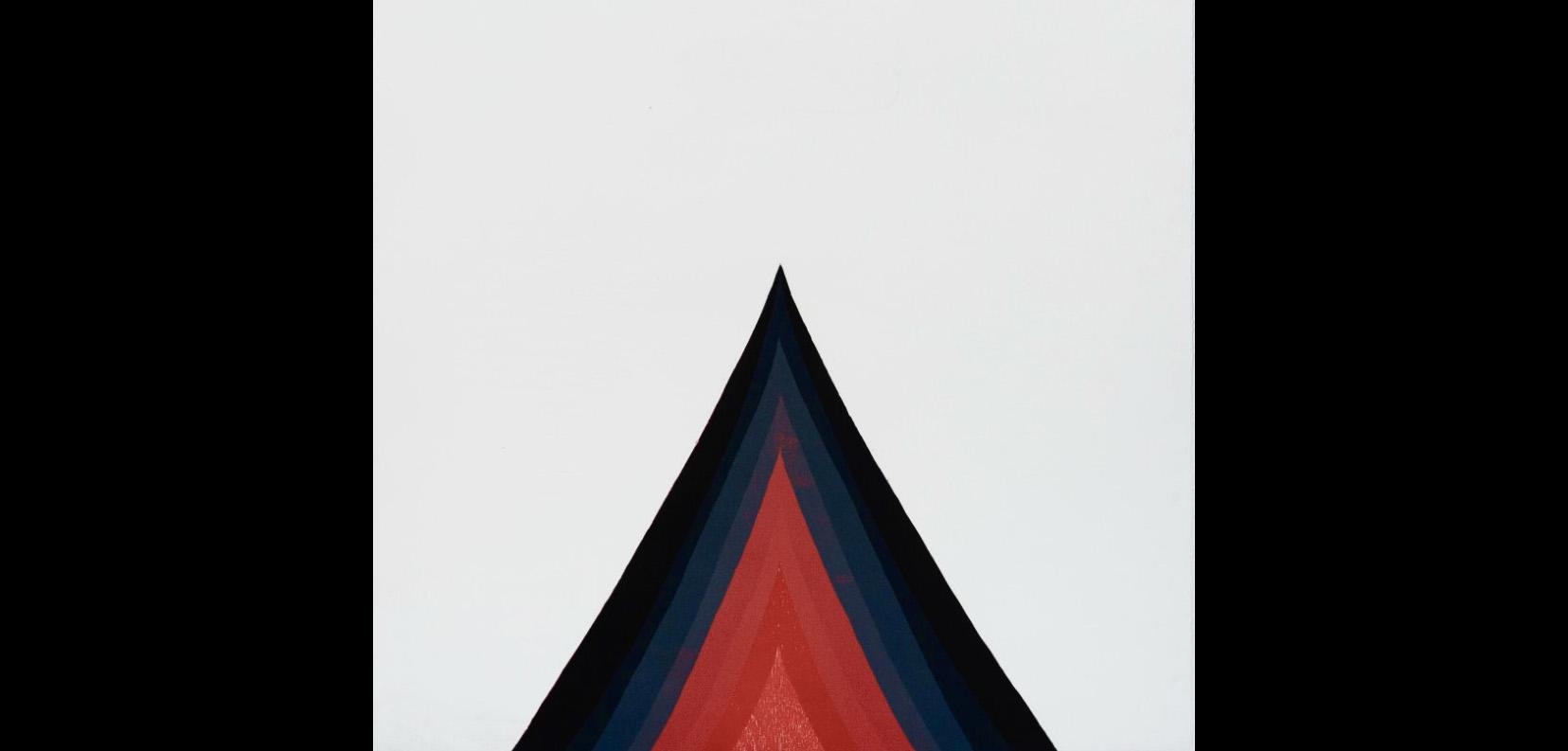 Painting of a painted triangle with a black border, fading to dark blue with a red middle triangle against a white background.