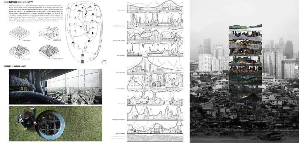multisession competition entry with renderings, plans, sections