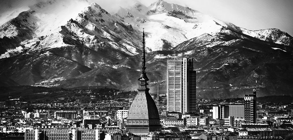 Skyline of Turin, Italy with a mountain backdrop