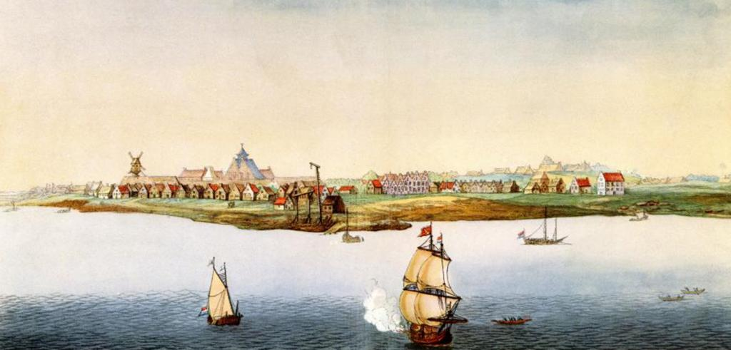 painting of colonial village on a river with sailing ships
