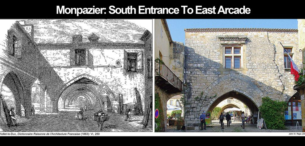 side-by-side images of the same archway. On left, a 19th century drawing; on right, a 2009 photograph