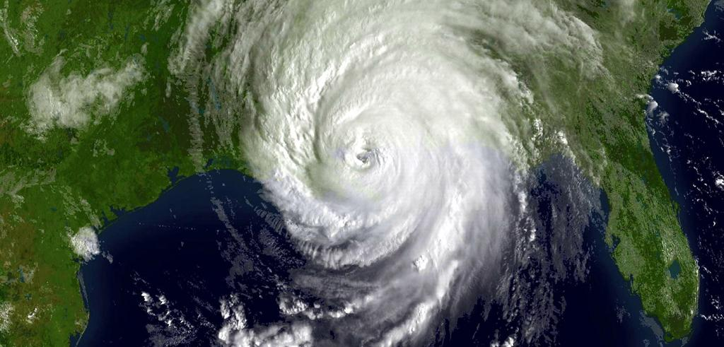 hurricane centered over Louisiana