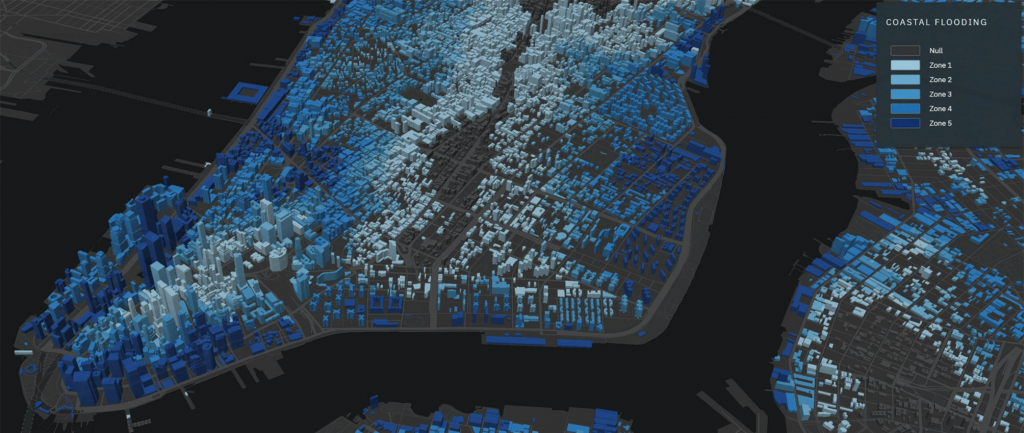 Eye view of a digitized city in different shades of blue and grey