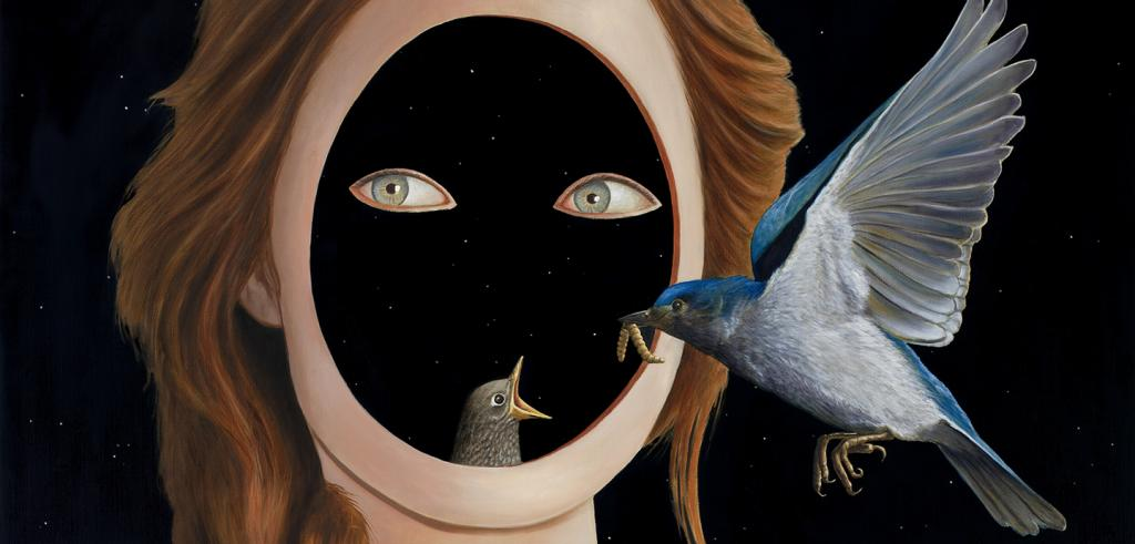 A bird feeding a baby bird in a darkened portioned of a woman's face.