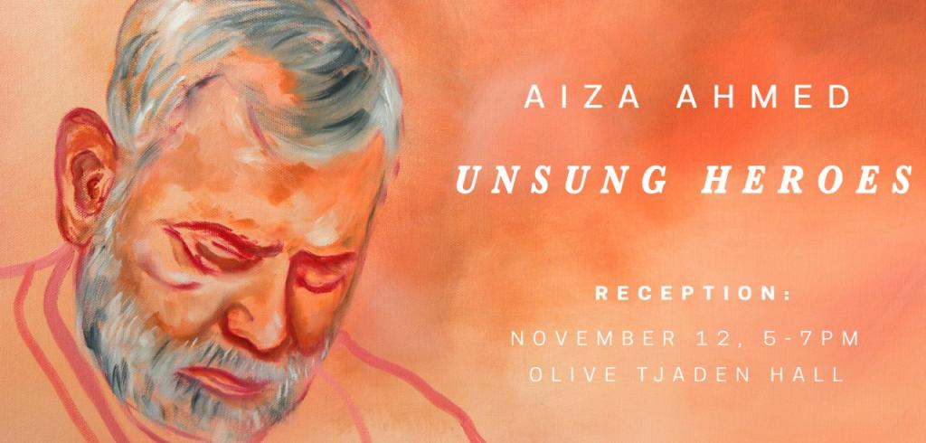 Orange shaded painting with a man looking down with grey hair to the left and exhibition announcement on the right in white letters.