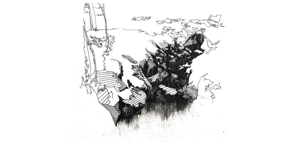 Black and white etching of a fragmented cliff with trees near the side.