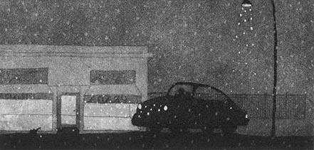 Black and white print of a car parked next to a store while it is dark and rainy.
