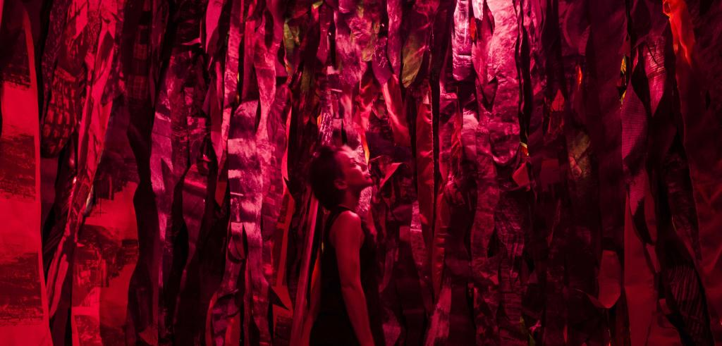 Person surrounded by red streamers.