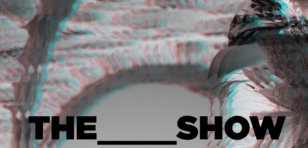 A blurry human shape under an arch in gray, light red, and bright blue tones, with black text at the bottom.