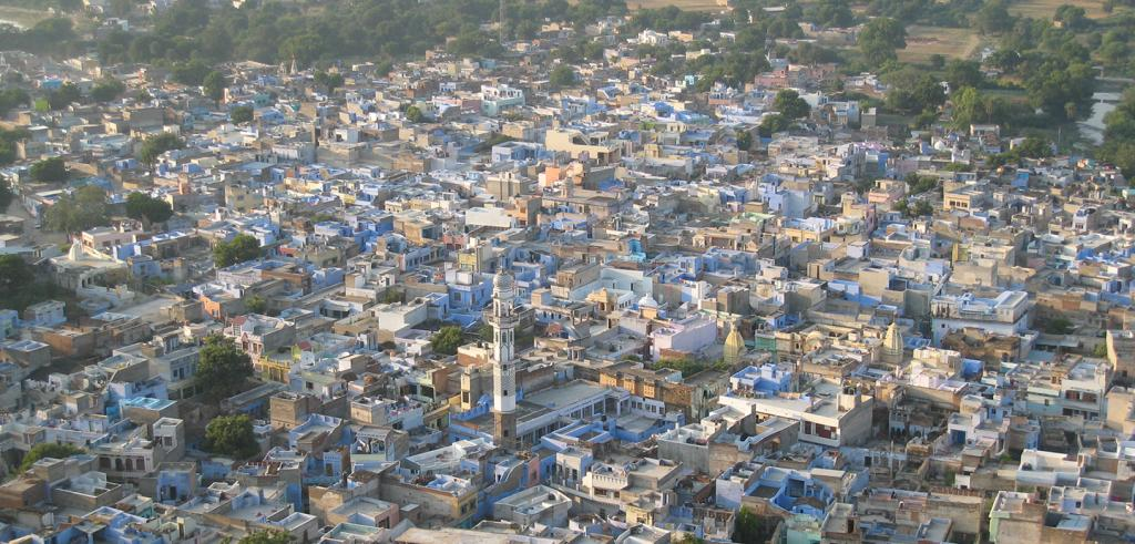 An aerial view of Jahazpur, a city in India.
