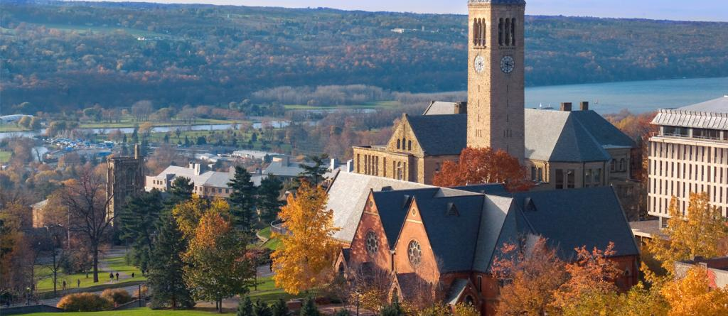Cornell Clock Tower surrounded by buildings and trees.