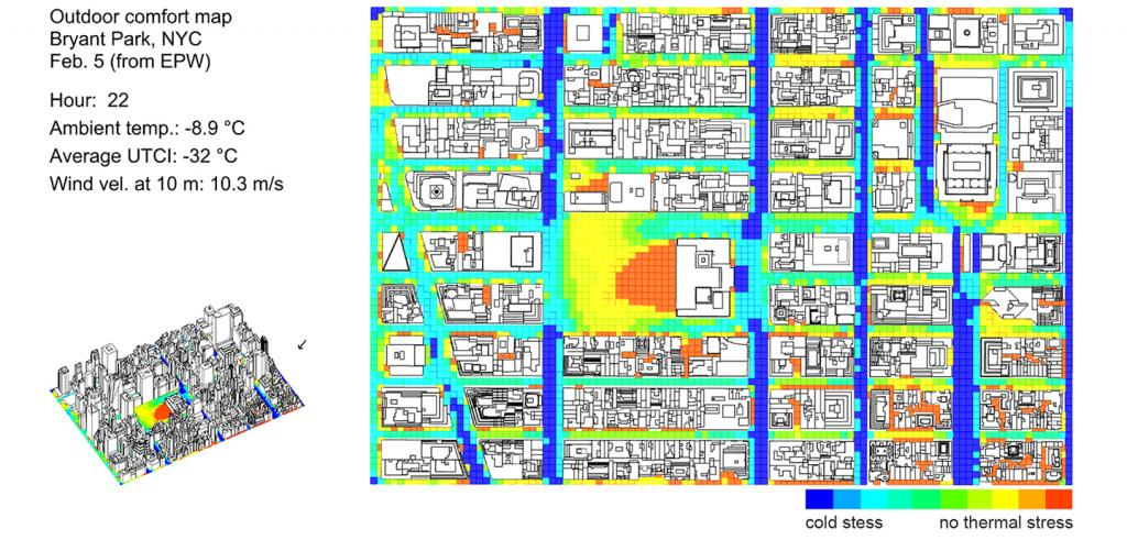 two maps of New York City showing grids of streets and outdoor temperatures