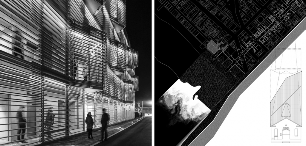 Two black and white images placed side by side, the left depicting a modern architectural structure in the evening, the right depicting a digital rendering of the building and its site location.