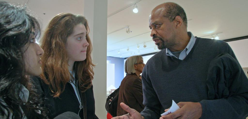 students in conversation with Leon Lawrence