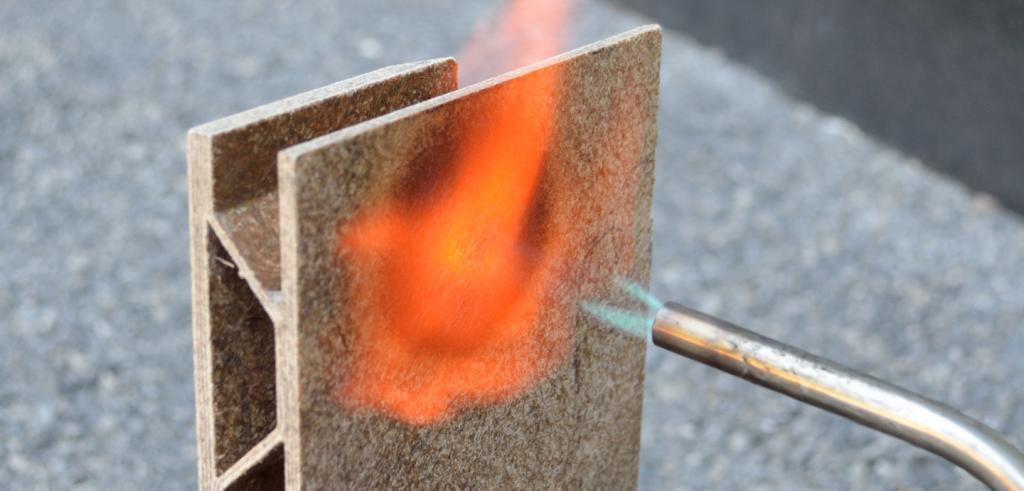 welding torch lighting a brick on fire