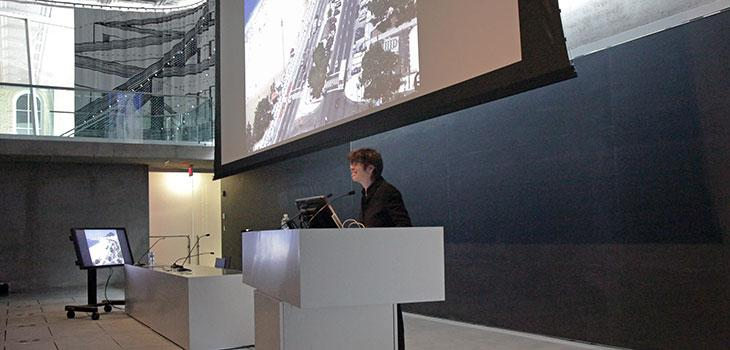Liz Diller's keynote address in the Abby and Howard Milstein Auditorium.