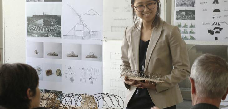 Yoon Cha (B.Arch. '18) presents her project during first-year design reviews.