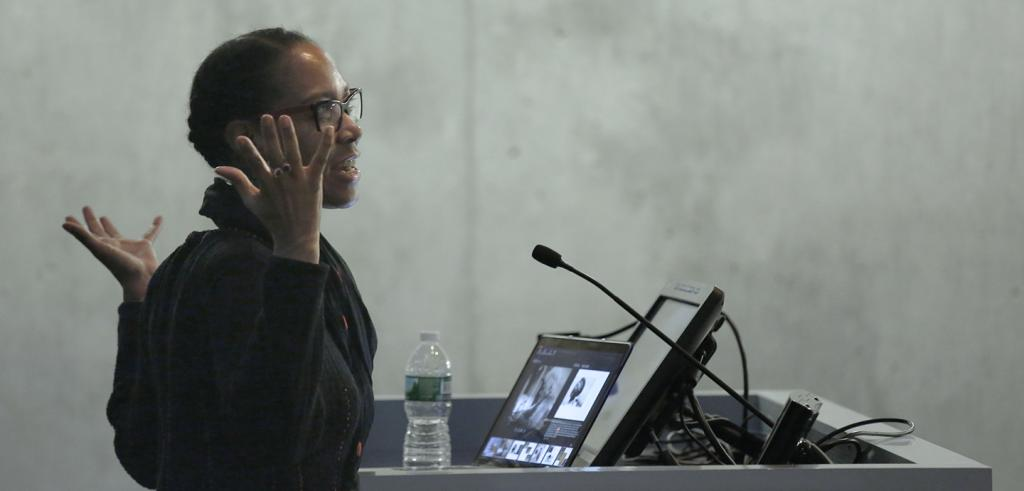 Sonya Clark lecturing