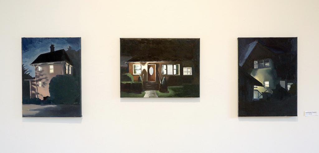 Three paintings of houses at night with interior and porch lights
