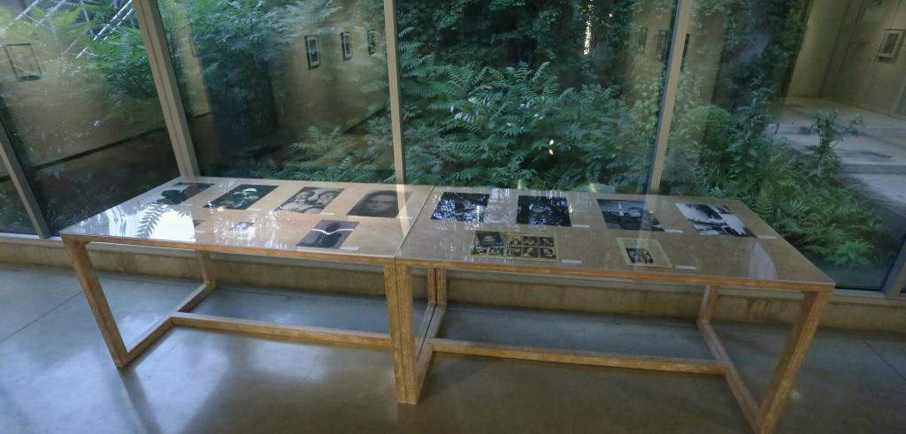 Two wooden tables with a display of photographs and articles under glass with reflections of a gallery space in the windows behind.