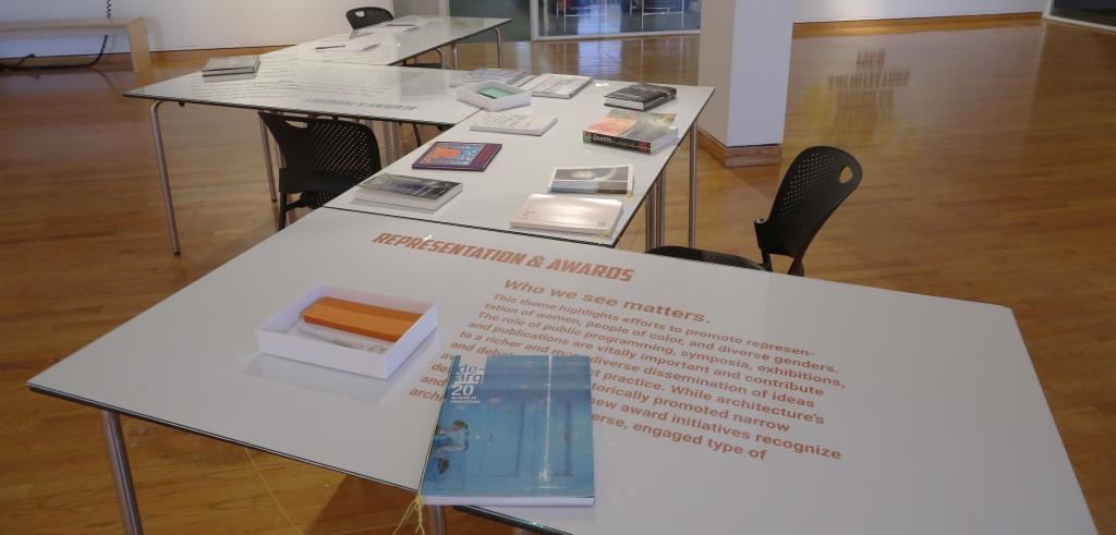 Books and papers displayed on tables