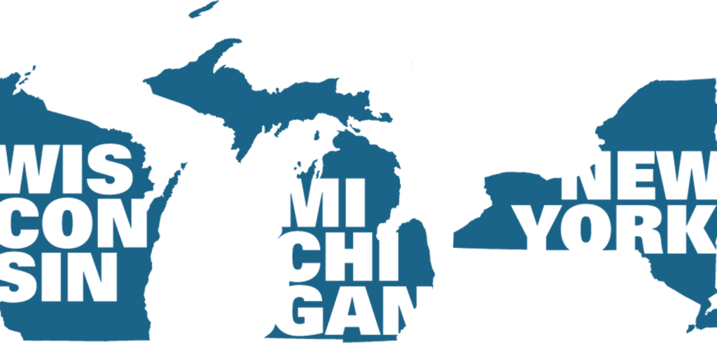 profiles of Wisconsin, Michigan, and New York states