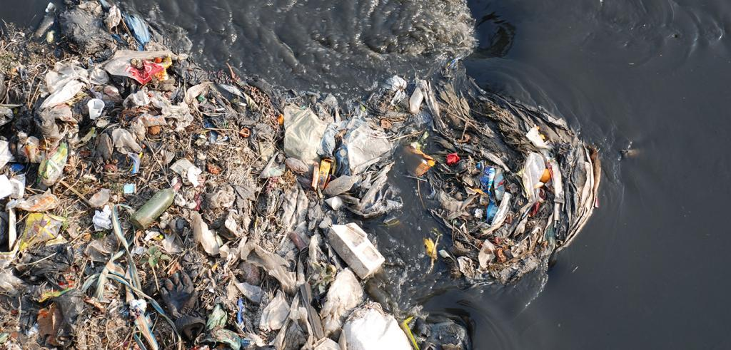 overhead view of trash in water