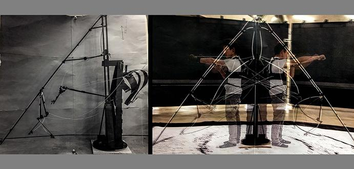 a drawing machine and a blurred figure in virtual reality gear