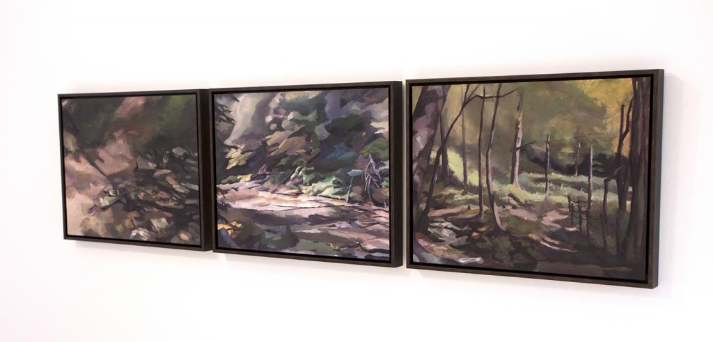 Three oil paintings in a row of a landscape of trees