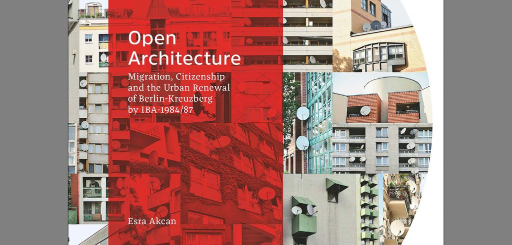 Cover art for a book consisting of a red rectangle with text and a collage of city architecture photos