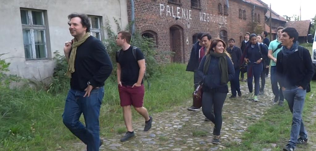 Aleksandr Mergold and students at the farm estate Bzionkow in Silesia, Poland