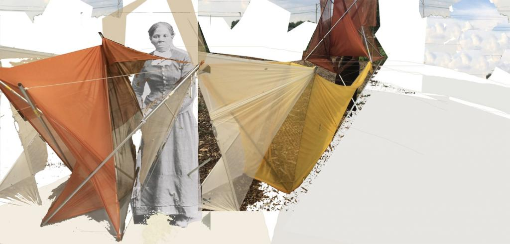 collage of brown tents with a black-and-white photo of Hariet Tubman