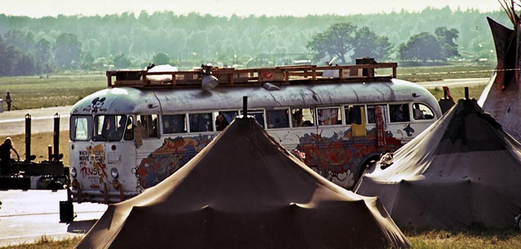 Hog Farm commune buses at their Tent City, Skarpnäck, Stockholm, June 1972