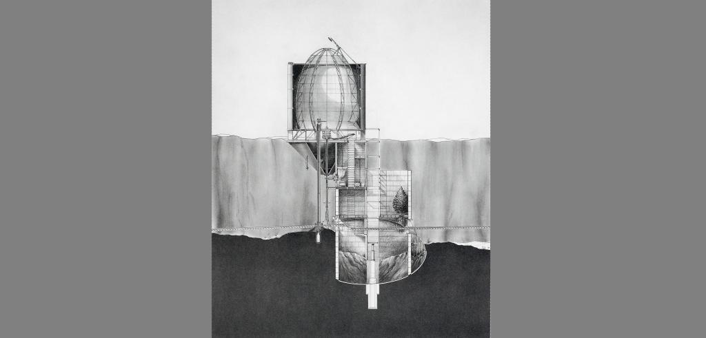 cut-out view of a containment structure above ground and mirrored below ground