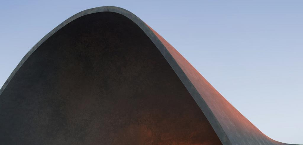 Curved roof line of modern building