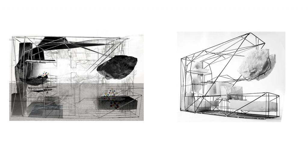 two computer generated architectural drawings