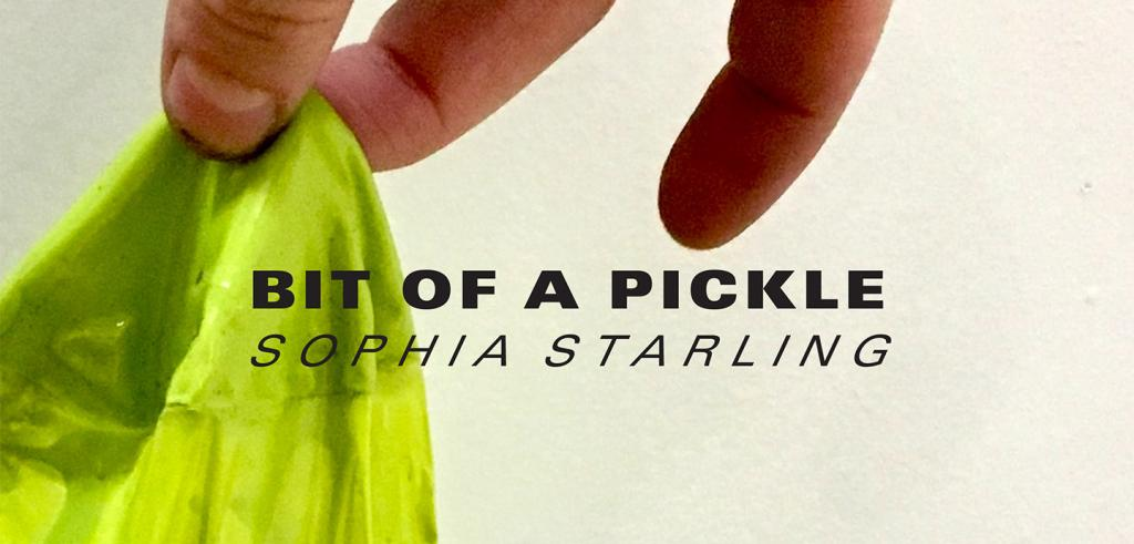 A hand picking up bright yellow dried paint with the words Bit of a Pickle Sophia Starling