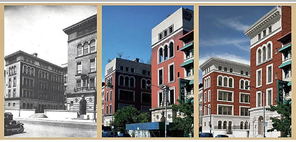 Three panels showing a large building in three different eras.