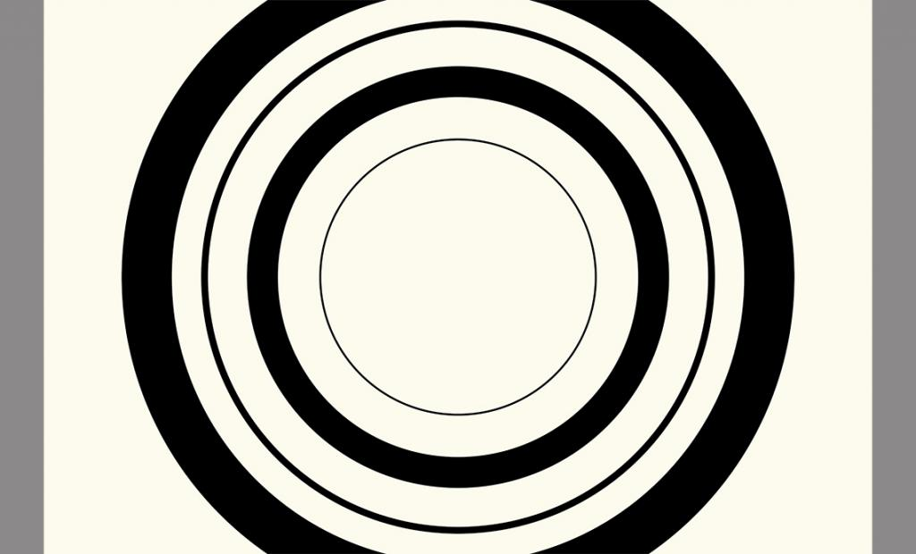 Black concentric circles of varying weights on a cream-colored background