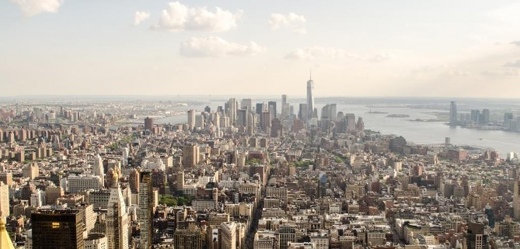 Aerial view of New York City from uptown, facing downtown