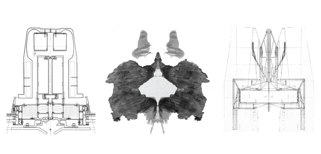 Architectural details and inkblot.