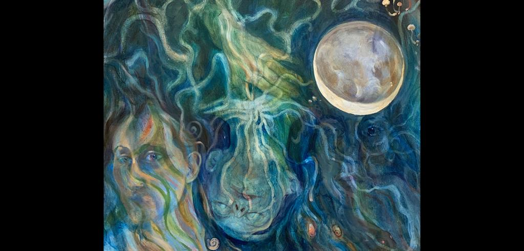 Swirling blurred faces and a sphere rendered in blues, yellows, and greens.