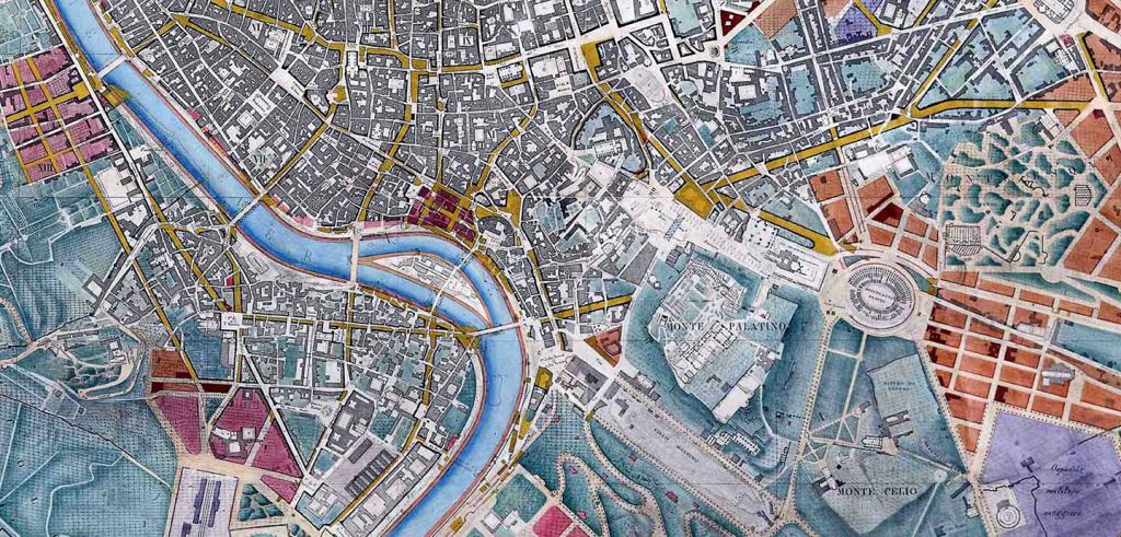 colorful city map of Rome