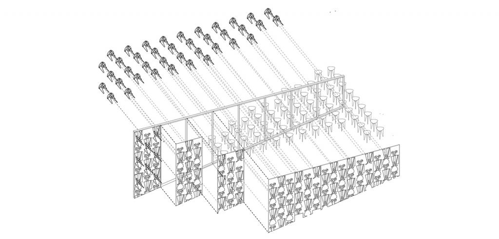 Diagram illustrating how 36 stools fit into a series of panels with geometric designs on them.