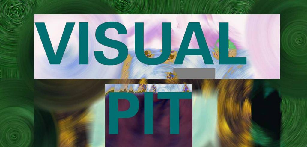 Swirl background with dark green border and lighter colors behind the words Visual Pit written in teal color.