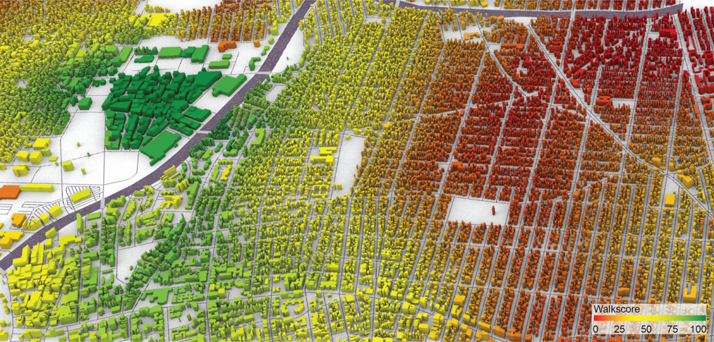 A green, yellow, and red aerial relief map of neighborhoods