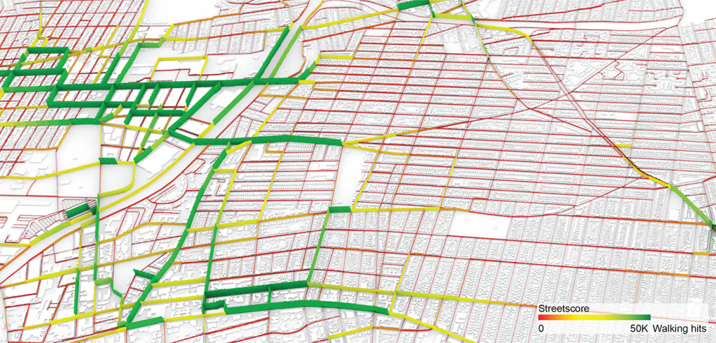 street map with colors imposed to show high and low use