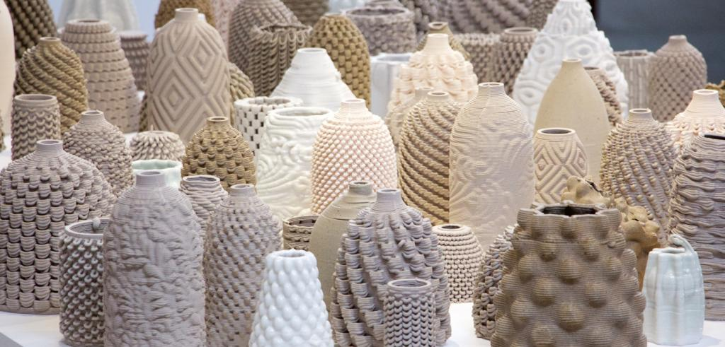 ceramic vessels of different sizes, textures, and shapes